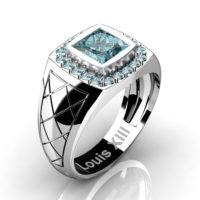 Mens Modern 14K White Gold 1.25 Ct Princess Blue Diamond Wedding Ring R1131-14KWGBLD2