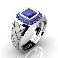 Mens Modern 14K White Gold 1.25 Ct Princess Blue Sapphire Wedding Ring R1131-14KSWGBS