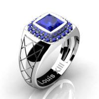 Mens Modern 14K White Gold 1.25 Ct Princess Blue Sapphire Wedding Ring R1131-14KWGBS
