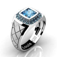 Mens Modern 14K White Gold 1.25 Ct Princess Blue Topaz Wedding Ring R1131-14KSWGBT