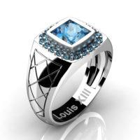 Mens Modern 14K White Gold 1.25 Ct Princess Blue Topaz Wedding Ring R1131-14KWGBT