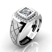Mens Modern 14K White Gold 1.25 Ct Princess Certified Diamond Wedding Ring R1131-14KSWGCVVSD