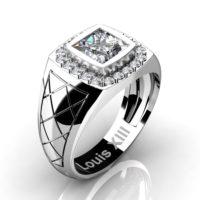 Mens Modern 14K White Gold 1.25 Ct Princess Certified Diamond Wedding Ring R1131-14KWGCVSD