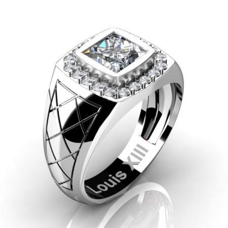 Louis-XIII-Modern-14K-White-Gold-1-25-Carat-Princess-Certified-Diamond-Wedding-Ring-R1131-14KWGCVSD