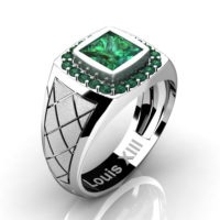 Mens Modern 14K White Gold 1.25 Ct Princess Emerald Wedding Ring R1131-14KSWGEM