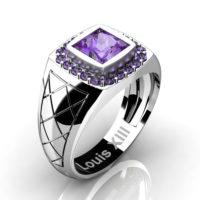 Mens Modern 14K White Gold 1.25 Ct Princess Lilac Amethyst Wedding Ring R1131-14KWGLAM