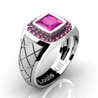 Mens Modern 14K White Gold 1.25 Ct Princess Pink Sapphire Wedding Ring R1131-14KSWGPS