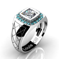 Mens Modern 14K White Gold 1.25 Ct Princess White Sapphire Blue Diamond Wedding Ring R1131-14KWGBLDWS