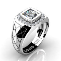 Mens Modern 14K White Gold 1.25 Ct Princess White Sapphire Diamond Wedding Ring R1131-14KWGDWS