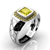 Mens Modern 14K White Gold 1.25 Ct Princess Yellow Sapphire Wedding Ring R1131-14KWGYS